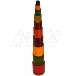 kidken teaching aids Colour Cylinder Tower / Color cylinder stacker / Wooden Toy, Child Age Group: 3 Years
