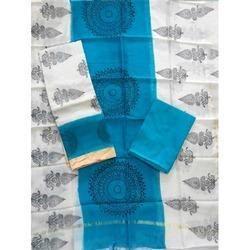 Blue Printed Ghicha Border Suit