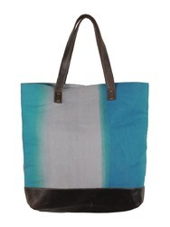 Blue Shaded Leather & Canvas Hand Bag