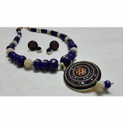 Necklace Blue Designer Handmade Jewellery, Size: Free