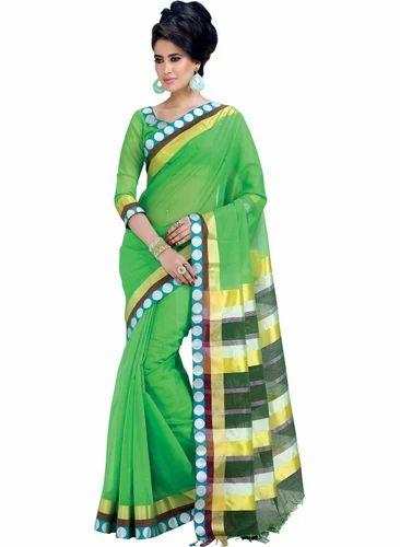 17d1ed9c90b5bb Light Green Handloom Cotton Saree - Indusdiva, Bengaluru | ID ...