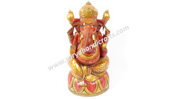 Wooden Ganesha With Real Gold