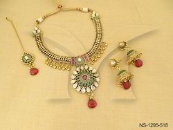 Paan Stoned Sunflower Bridal Polki Necklace Set