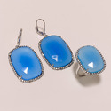 Chalcedony Earrings with Ring