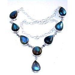 Labradorite Silver Gemstone Necklace