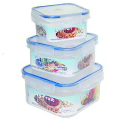 Plastic Locked Airtight Square Container Set
